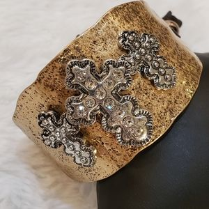 Gold Hammered Cross Cuff Bracelet